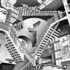 alzheimer's and a rocky week of dreams, by Andrea. Photo credit: Relativity, by M. C. Escher, 1953